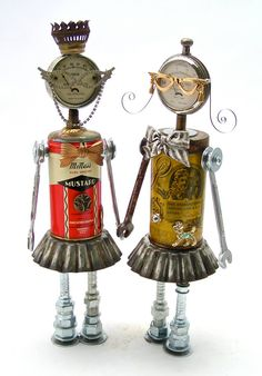 Upcycled, found-object, art sculptures