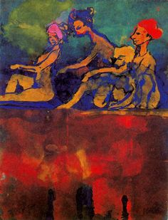 Scene with Four Figures - Emil Nolde Emil Nolde, Ernst Ludwig Kirchner, Franz Marc, Watercolor And Ink, Watercolor Paintings, Watercolours, Max Oppenheimer, Cavalier Bleu, Dresden