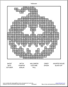 Halloween crossword, a spooky but nice free printable. Can