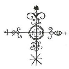 Crossroads vever - key symbol in Voodoo; the place where the physical and spirit world intersect, and also where polarities meet.