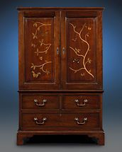 Some of the world's most amazing butterfly species are on display in this beautiful mahogany collector's cabinet ~ 19th Century, Furniture, Art Nouveau Style, Mahogany Cabinets ~ M.S. Rau Antiques