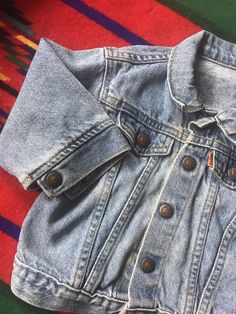 43542c14c2 Sale Sale Sale Vintage kids 18 month Levi's trucker jacket, orange tab,  little Levi's
