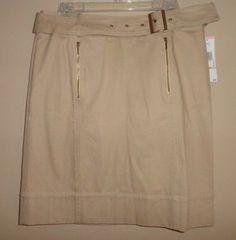 $39.95 New Women's Anne Klein AK Beige Stretch Belted A Line Skirt Size: 10