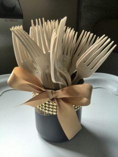Diy black & gold birthday honeypot for forks, thanks pinterest