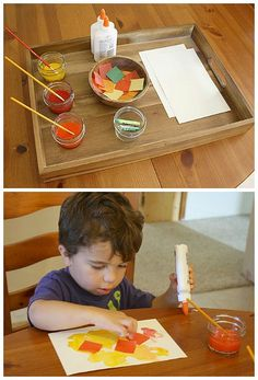 Fall Art for Toddlers and Preschoolers: Invitation to Create with Fall Colors ~ BuggyandBuddy.com