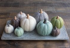 How to Make Felted Mini Pumpkins for Fall - Lia Griffith Mini Pumpkins, White Pumpkins, Fall Pumpkins, Diy Wool Felt, Felt Diy, Felted Wool, Holiday Crafts, Holiday Fun, Holiday Decor