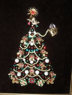 Vintage Jewelry Christmas Tree - Red & Green Rhinestone Garland & Angel
