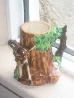 Vintage Bambi Deer and Thumper Bunny Rabbit  figurine Mug Cup Planter Vase