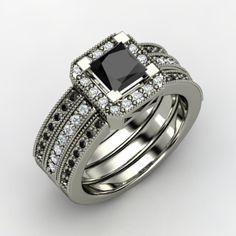Princess Black Diamond, Multi-stone, Prong Set Ring in 14K White Gold