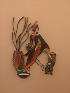 """African Art - Quilling Wall Art - the art of painting with 1/8"""" (3mm) paper strips"""
