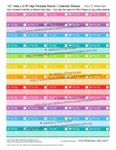 To Do Printable Planner Stickers List Checklist Most Important Task Rainbow Erin Condren, Plum Paper, Kikki K, filofax ect. accessory S001 https://www.etsy.com/au/listing/248835927/to-do-printable-planner-stickers-list?ref=shop_home_active_2