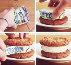 Cut a ben and jerry pint to fit your cookies for an easy ice cream sandwich! Just Desserts, Delicious Desserts, Dessert Recipes, Yummy Food, Dessert Healthy, Yummy Treats, Sweet Treats, Great Recipes, Favorite Recipes