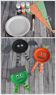 Halloween: kids crafts with paper plates Halloween Tags, Halloween Supplies, Easy Halloween, Halloween 2018, Halloween Decorations, Halloween Party, Rainy Day Crafts, Fall Crafts, Diy And Crafts