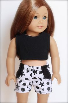 Black and White Seashore SHORTS for American Girl by Closet4Chloe, $9.00