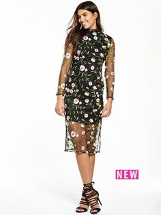 V by Very Premium Embroidered Mesh DressDress-up date? Create an ultra dreamy look in this dress from V by Very. It features a chic high neckline, long sleeves and midi length, with a mesh overlay that's covered in premium embroidered florals for a luxed-up feel. This piece is partially lined for just the right amount of coverage, while side split detailing adds to its feminine charm. Styling Ideas Let this piece do the talking - style simply with heels and a matching clutch, then consider…
