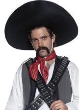 Mexican Sombrero Black Bandit Hat Western Fancy Dress Costume Mens Accessory