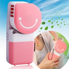 Mini Portable Hand-held Bladeless Cool Fan Air Conditioner Water Cooling Cooler Table Desk Desktop Electric Fan Rechargeable USB Battery Operated for Home Office Students Outdoor Camping Hiking Travelling Pink