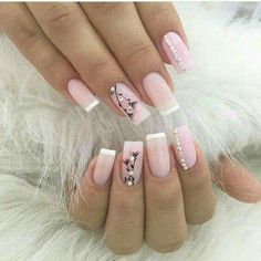 Pink and white clear pink acrylic with rhinestone and flower details and accent nails Acrylic Gel Nails - Summer Fall Nail Designs - Cute Fingernail Art Ideas Gel Nail Art, Acrylic Nails, Nail Polish, Toe Nails, Pink Nails, Manicure E Pedicure, Elegant Nails, Super Nails, Flower Nails