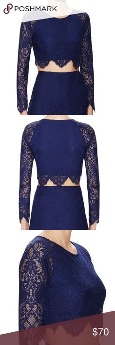 """For Love and Lemons navy lace top Brand new navy lace crop top by For Love and Lemons. Runs small in my opinion so tag says M but I would say it's best for XS-S. NO TRADE, NO LOWBALL, only accept price negotiation through""""offer"""" feature. For Love and Lemons Tops Crop Tops"""