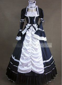Black and White Cotton Aristocrat Victorian Style Dress