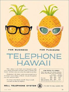 1939 Print Ad for Bell Telephone listing rates for calls to HAWAII ;-)