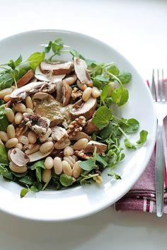 Mushrooms, Cannellini Beans and Truffle Cream Salad