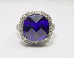 CLEARANCE Sterling Silver Cushion Purple Cubic Zirconia Halo Ring Sz 7.25 #629
