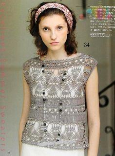 Crochetemoda: Blusa Cinza de Crochet