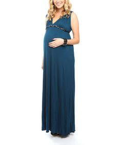 Love this Teal Jill Maternity V-Neck Maxi Dress by Everly Grey on #zulily! #zulilyfinds