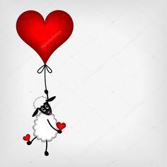 Ovelhas pouco bonito pendurado no coração vermelho - ballon — Ilustração de Stock Valentines Day Wishes, Valentine Day Love, Valentine Crafts, Doodle Art, Eid Crafts, Sharpie Paint, Image Digital, Bee Creative, Wall Drawing
