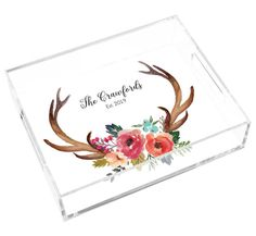 Decorated Antlers Lucite Tray