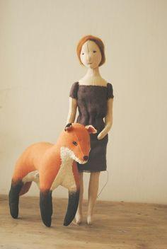 Fabric girl and fox by Willowynn. www.willowynn.com