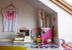 my work space. home studio.  attic flat