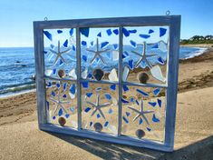 Items similar to Sun Catcher Window on Etsy Sea Glass Crafts, Sea Crafts, Sea Glass Art, Rock Crafts, Seashell Art, Seashell Crafts, Mosaic Art, Mosaic Glass, Stained Glass