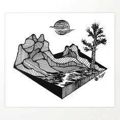 """Geometric Ridge"" Hand-Drawn by Dark Mountain Arts Art Print by darkmountainarts - X-Small Mountain Sketch, Mountain Drawing, Mountain Art, Rustic Artwork, Rustic Wall Art, Dark Mountains, Space Artwork, Bear Art, Outdoor Art"