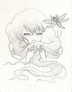 Untitled -  graphite on paper 'Smitten' @ Thinkspace Gallery 2007 (jg) © Audrey Kawasaki 2004 – 2013