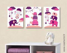 Affiche pour enfant illustration pour enfant bébé poster enfant fille décoration chambre éléphant tortue réf.72 : Décoration pour enfants par cashemir