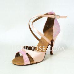 Zapatos de Danza - $33.99 - satén brillo chispeante Tacones Sandalias Danza latina Calzado de Danza (053026472) http://jjshouse.com/es/Saten-Brillo-Chispeante-Tacones-Sandalias-Danza-Latina-Calzado-De-Danza-053026472-g26472