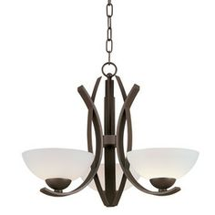 A more modern take on the multi-light chandelier. Inexepensive but with good reviews. I think the smoother glass covers look more modern than the usual flared ones, too. $37. Portfolio 3-Light Lebach Aged Bronze Chandelier