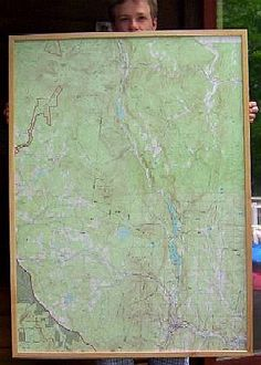 large framed topographic map