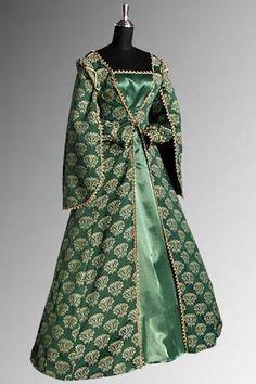 What an amazing Green Court Gown Renaissance Costume, Medieval Costume, Renaissance Fashion, Vintage Gowns, Vintage Clothing, Vintage Outfits, Vintage Fashion, Historical Dress, Historical Clothing