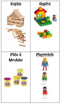 Etiquettes pour caisses, tiroirs, étagères de jouets Autism Classroom, Classroom Decor, Classroom Signs, Play Doh, Activities For Kids, Crafts For Kids, School Organisation, Petite Section, Kids House