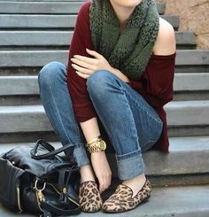 Leopard print loafers, olive scarf, burgundy top, jeans...love it!