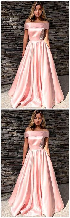 Gorgeous Off the Shoulder Long Prom Dress, Elegant