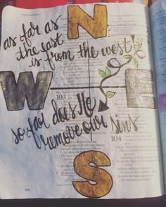 "Psalm 103:12. ""As far as the east is from the west so far does He remove our sins "". #biblejournalingcommunity #ipaintinmybible #journalingbiblecommunity #biblejournaling #bibleart http://ift.tt/1KAavV3"