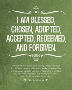 Grace! I am blessed, chosen, adopted, accepted, redeemed, and forgiven by God who Loves.