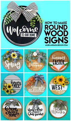 Wooden Door Signs, Diy Wood Signs, Wood Signs For Home, Painted Wooden Signs, Crafts To Sell, Diy Crafts, Cricut Explore Projects, Round Door, Wood Rounds