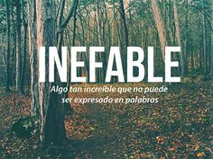 Inefable: algo tan increíble que no puede ser expresado en palabras. Ineffable: something so incredible that it can not be expressed in words. The Words, Weird Words, More Than Words, Cool Words, Spanish Words, Spanish Quotes, Words Quotes, Love Quotes, Inspirational Quotes