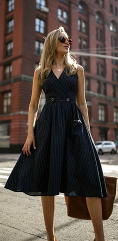 30 Dresses in 30 Days   Day 17: What to Wear on a Typical Workday // sleeveless navy pinstripe knee length dress with buttons, brown tan large carry all tote, cat eye sunglasses, tan heels { Mango, summer workwear, what to wear, office appropriate, fashion blogger}