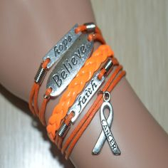 Hope-Believe-Faith Leukemia Awareness Sign Braided Leather Bracelet Orange. You will get the same bracelet as the pictures, and the charms are antique silver, this is a very good choice to give as a g Acute Lymphoblastic Leukemia, Leukemia Awareness, Cancer Tattoos, Kidney Cancer, Cancer Support, Braided Leather, Bracelets, Kylie, Antique Silver